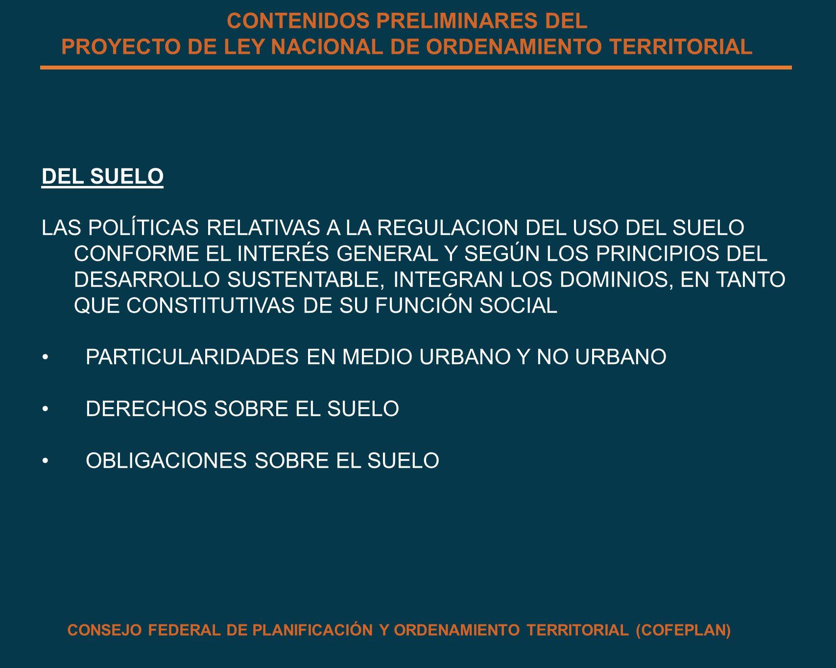 CONTENIDOS PRELIMINARES DEL PROYECTO DE LEY NACIONAL DE ORDENAMIENTO TERRITORIAL DEL SUELO LAS POLÍTICAS RELATIVAS A LA REGULACION DEL USO DEL SUELO C