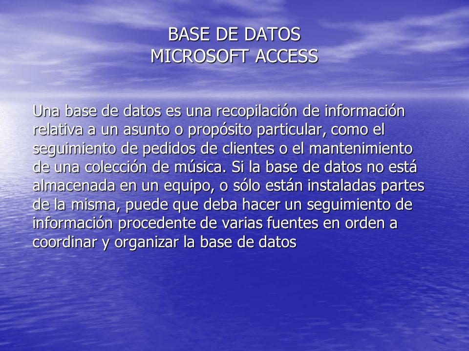 BASE DE DATOS MICROSOFT ACCESS Una base de datos es una recopilación de información relativa a un asunto o propósito particular, como el seguimiento d