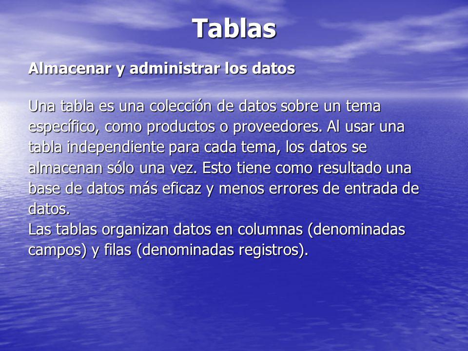 Tablas Almacenar y administrar los datos Una tabla es una colección de datos sobre un tema específico, como productos o proveedores. Al usar una tabla