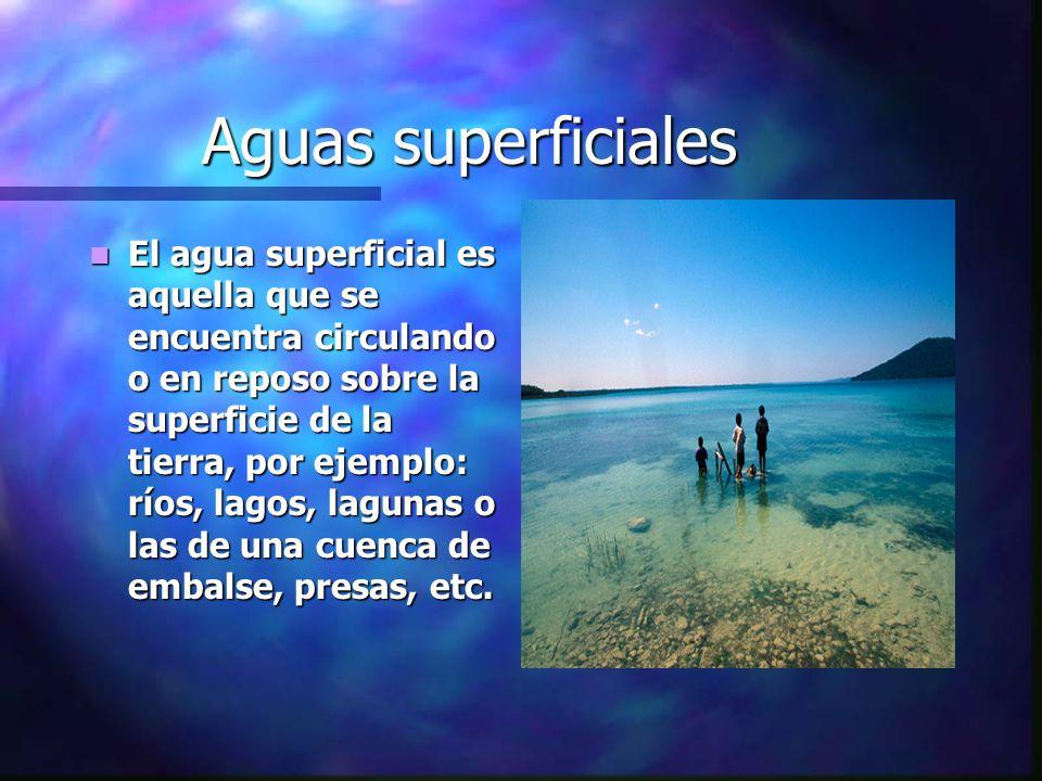 Aguas superficiales El agua superficial es aquella que se encuentra circulando o en reposo sobre la superficie de la tierra, por ejemplo: ríos, lagos,