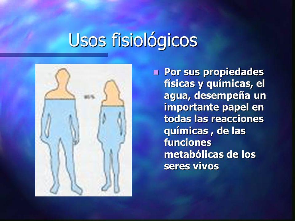 Usos fisiológicos Por sus propiedades físicas y químicas, el agua, desempeña un importante papel en todas las reacciones químicas, de las funciones me