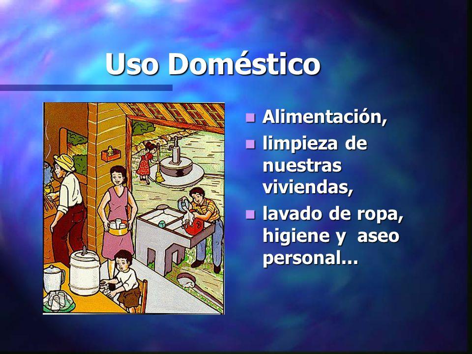Uso Doméstico Alimentación, limpieza de nuestras viviendas, lavado de ropa, higiene y aseo personal...