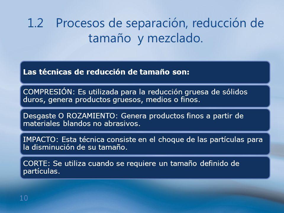10 1.2Procesos de separación, reducción de tamaño y mezclado. Las técnicas de reducción de tamaño son: COMPRESIÓN: Es utilizada para la reducción grue