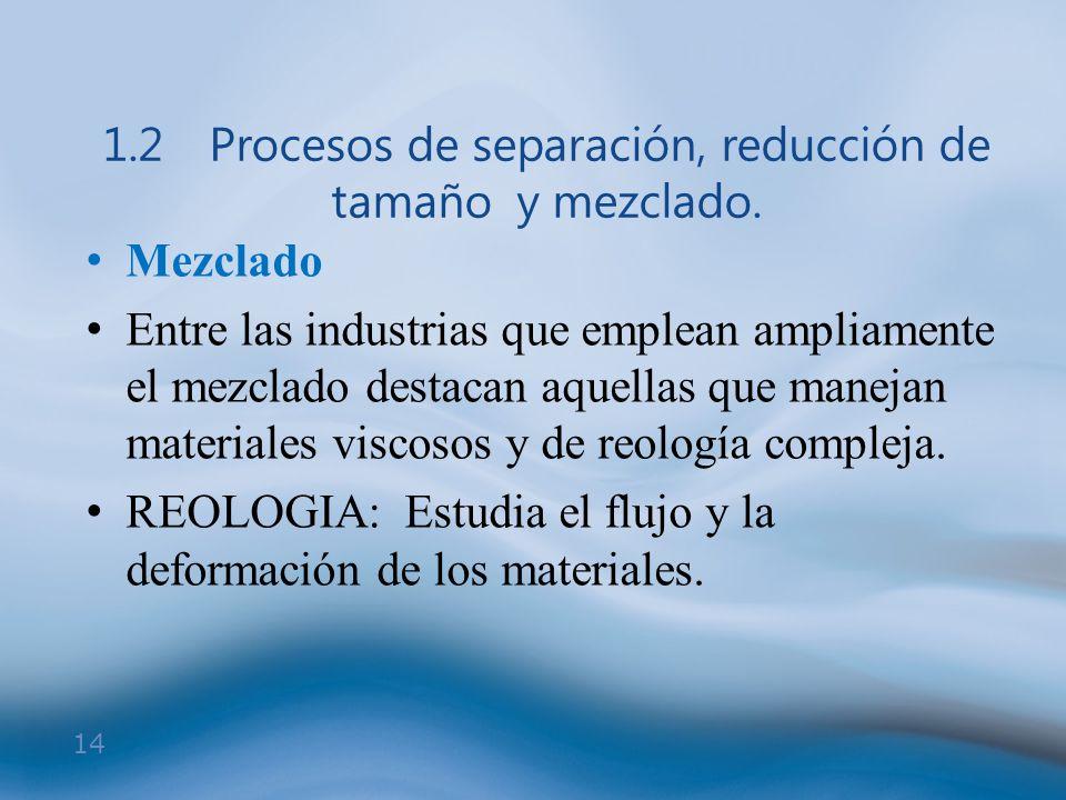 14 1.2Procesos de separación, reducción de tamaño y mezclado. Mezclado Entre las industrias que emplean ampliamente el mezclado destacan aquellas que