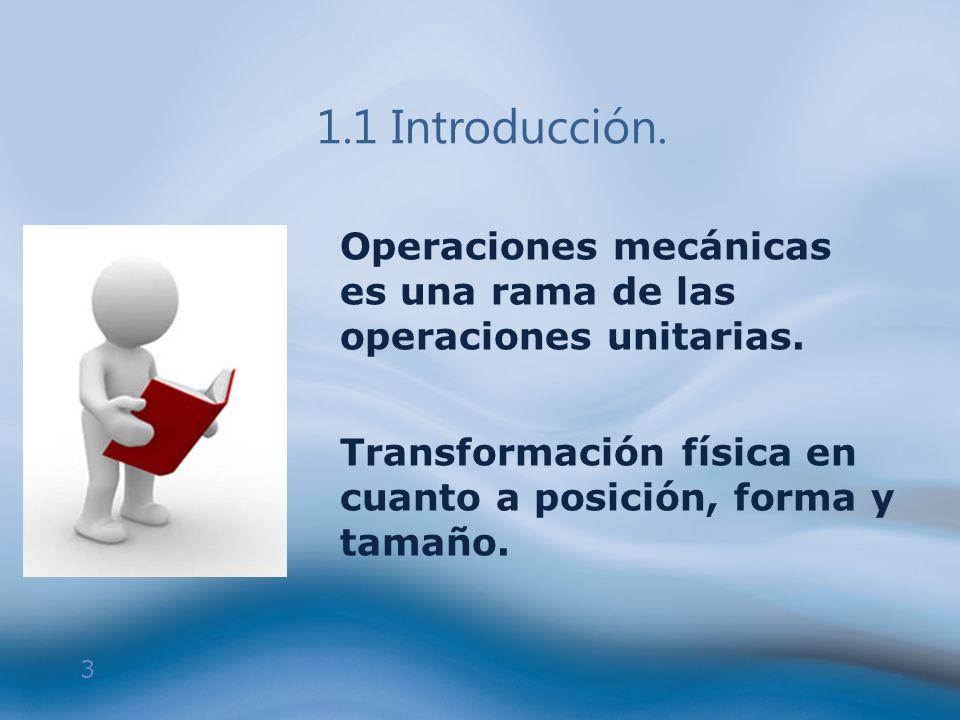 3 Operaciones mecánicas es una rama de las operaciones unitarias. Transformación física en cuanto a posición, forma y tamaño.