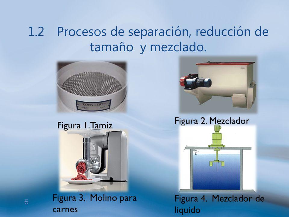 6 1.2Procesos de separación, reducción de tamaño y mezclado. Figura 1.Tamiz Figura 3. Molino para carnes Figura 2. Mezclador Figura 4. Mezclador de li