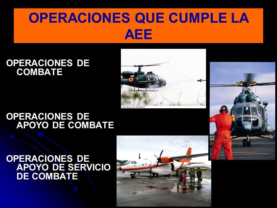 OPERACIONES DE COMBATE OPERACIONES DE APOYO DE COMBATE OPERACIONES DE APOYO DE SERVICIO DE COMBATE OPERACIONES QUE CUMPLE LA AEE