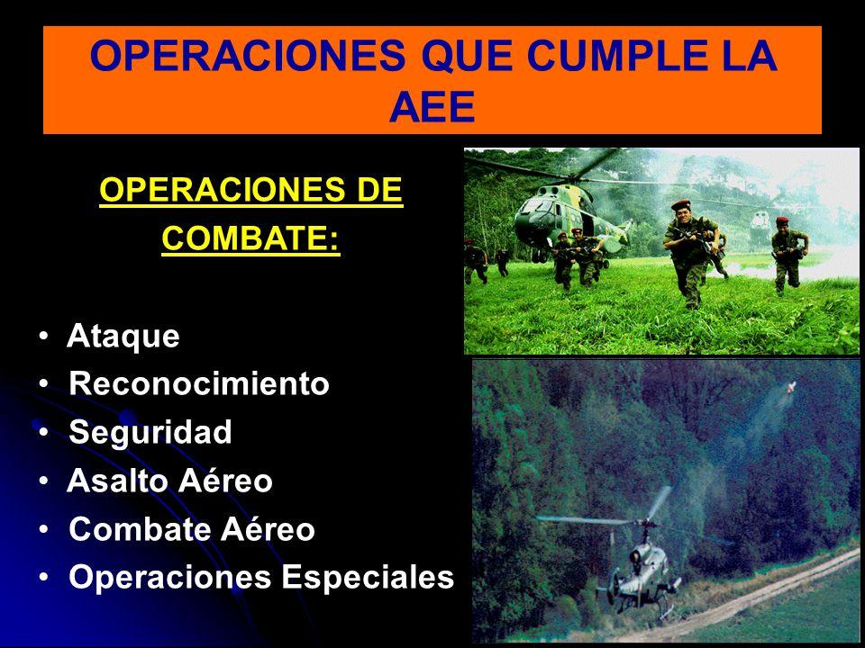 OPERACIONES DE COMBATE: Ataque Reconocimiento Seguridad Asalto Aéreo Combate Aéreo Operaciones Especiales
