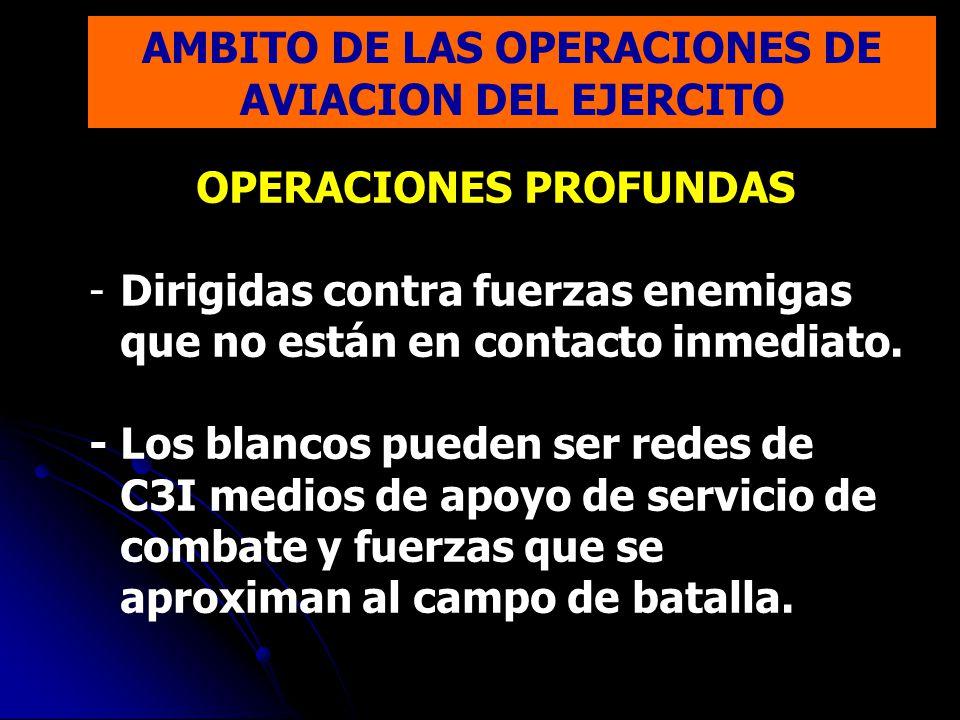 OPERACIONES PROFUNDAS -Dirigidas contra fuerzas enemigas que no están en contacto inmediato. - Los blancos pueden ser redes de C3I medios de apoyo de