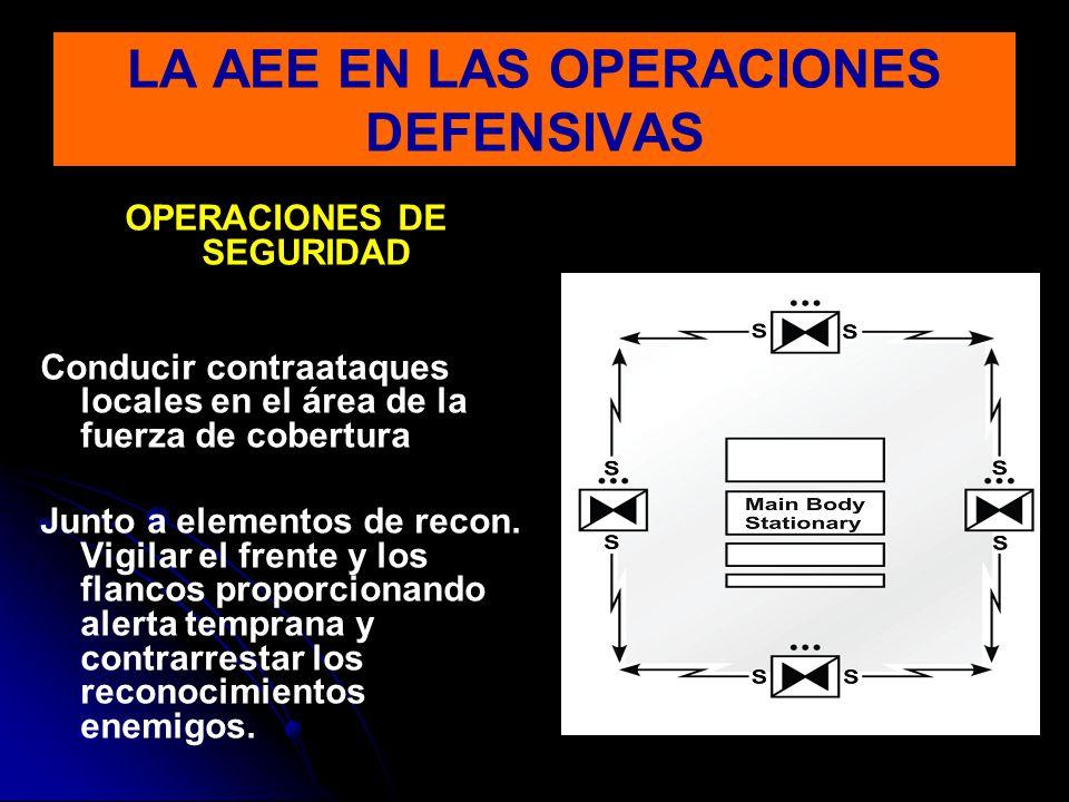 OPERACIONES DE SEGURIDAD Conducir contraataques locales en el área de la fuerza de cobertura Junto a elementos de recon. Vigilar el frente y los flanc