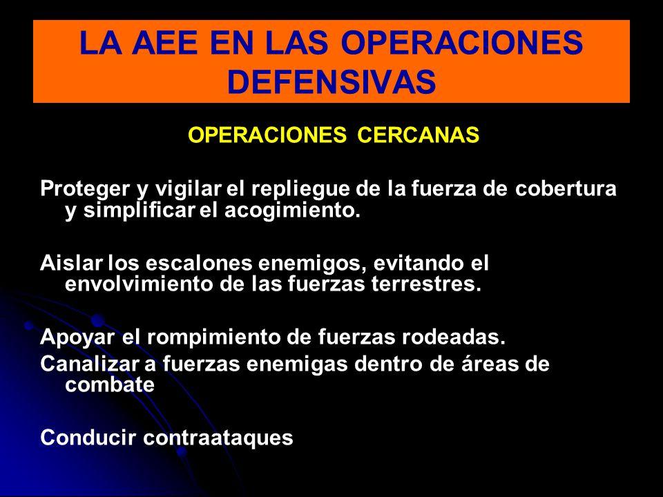 OPERACIONES CERCANAS Proteger y vigilar el repliegue de la fuerza de cobertura y simplificar el acogimiento. Aislar los escalones enemigos, evitando e