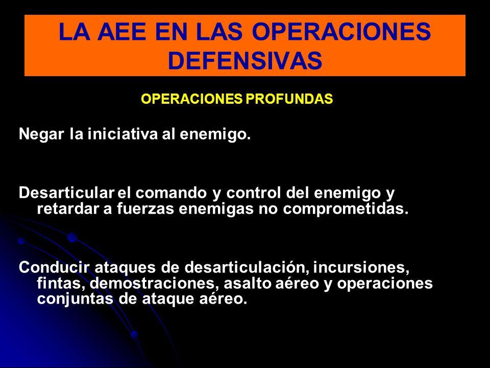 OPERACIONES PROFUNDAS Negar la iniciativa al enemigo. Desarticular el comando y control del enemigo y retardar a fuerzas enemigas no comprometidas. Co