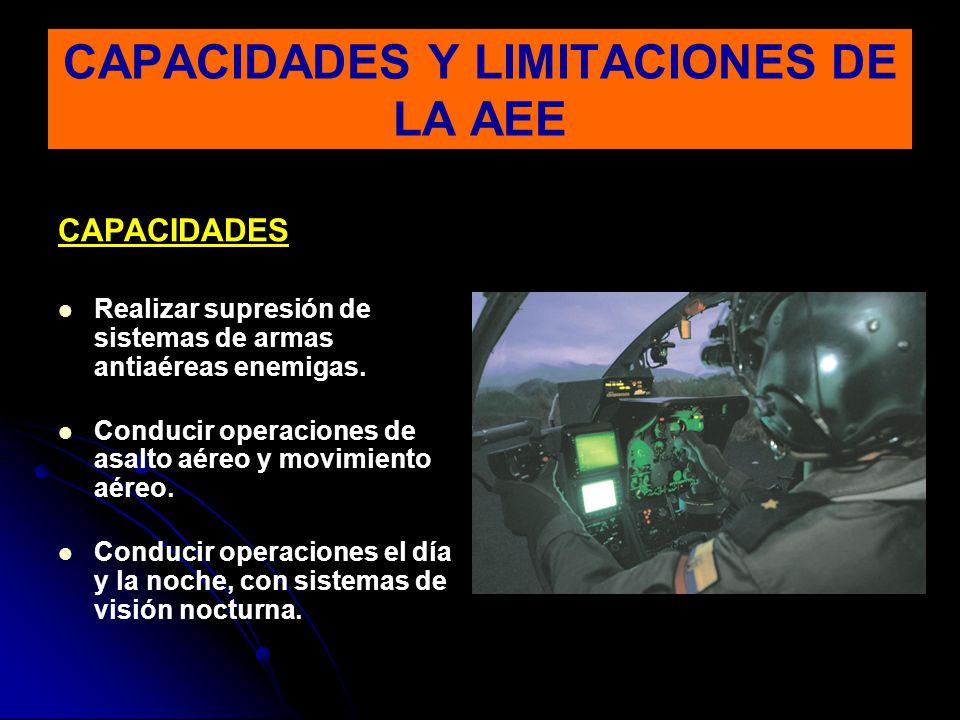 CAPACIDADES Realizar supresión de sistemas de armas antiaéreas enemigas. Conducir operaciones de asalto aéreo y movimiento aéreo. Conducir operaciones
