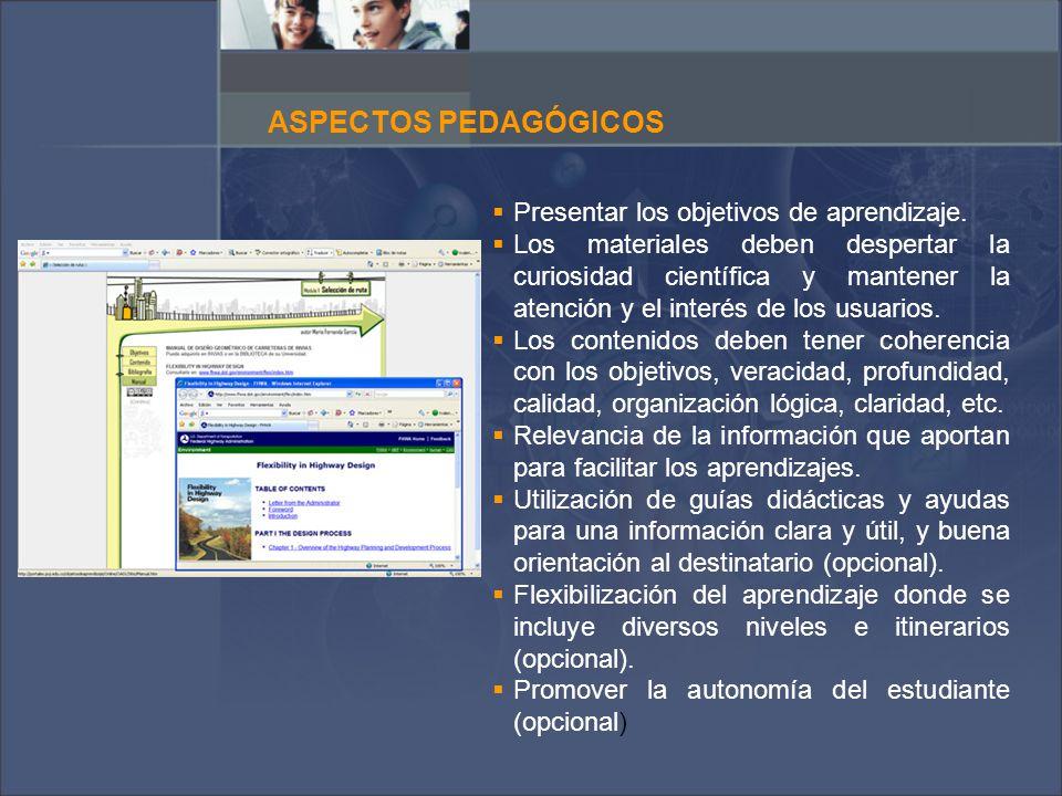 ASPECTOS PEDAGÓGICOS Presentar los objetivos de aprendizaje.
