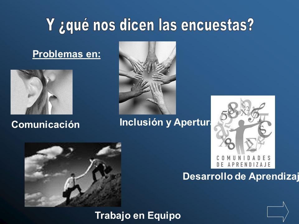 Problemas en: Comunicación Desarrollo de Aprendizaje Inclusión y Apertura Trabajo en Equipo