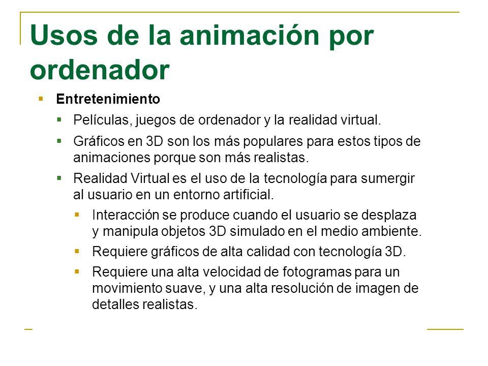 Usos de la animación por ordenador Entretenimiento Películas, juegos de ordenador y la realidad virtual. Gráficos en 3D son los más populares para est