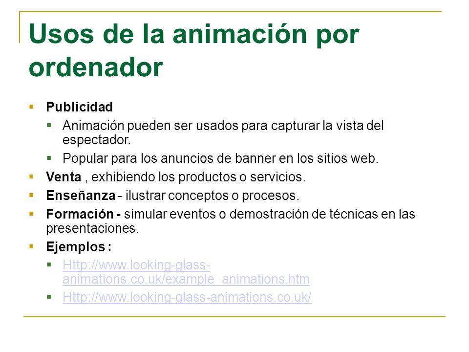 Usos de la animación por ordenador Publicidad Animación pueden ser usados para capturar la vista del espectador. Popular para los anuncios de banner e