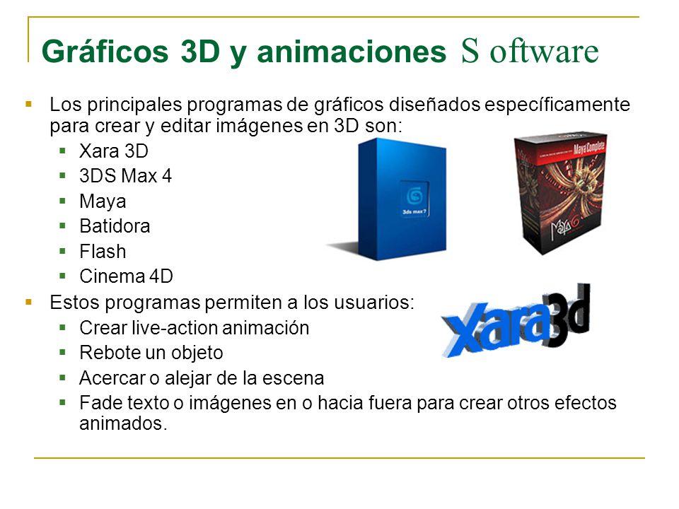 Gráficos 3D y animaciones S oftware Los principales programas de gráficos diseñados específicamente para crear y editar imágenes en 3D son: Xara 3D 3D