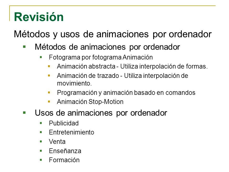 Revisión Métodos y usos de animaciones por ordenador Métodos de animaciones por ordenador Fotograma por fotograma Animación Animación abstracta - Util