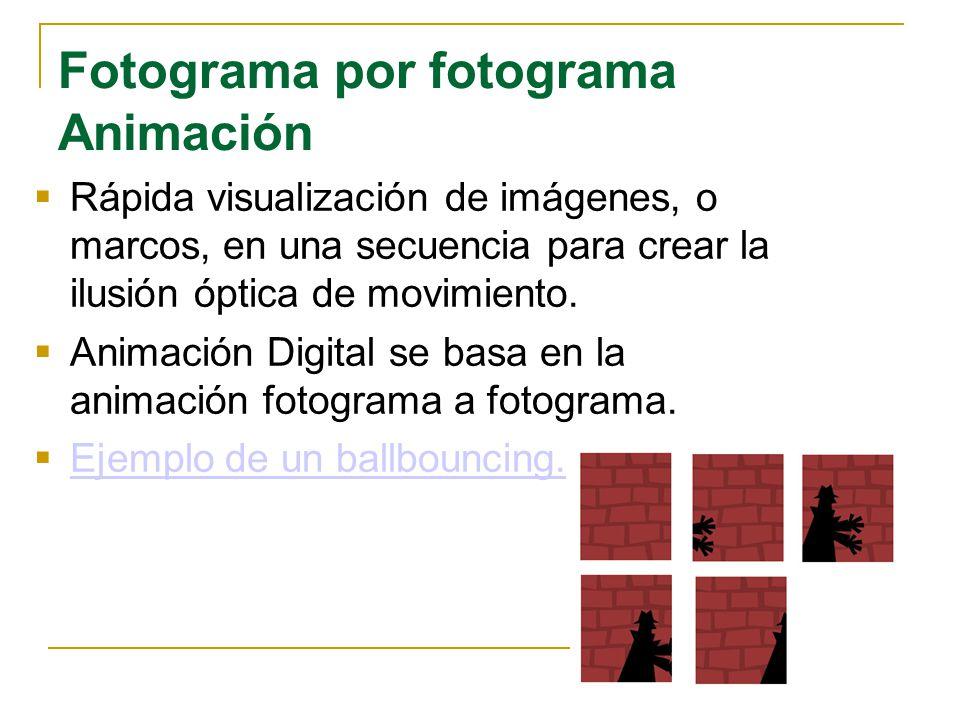 Fotograma por fotograma Animación Rápida visualización de imágenes, o marcos, en una secuencia para crear la ilusión óptica de movimiento. Animación D