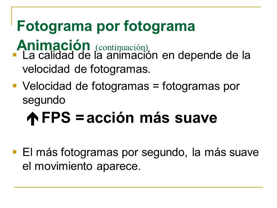 La calidad de la animación en depende de la velocidad de fotogramas. Velocidad de fotogramas = fotogramas por segundo FPS = acción más suave El más fo