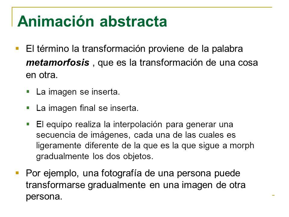 Animación abstracta El término la transformación proviene de la palabra metamorfosis, que es la transformación de una cosa en otra. La imagen se inser
