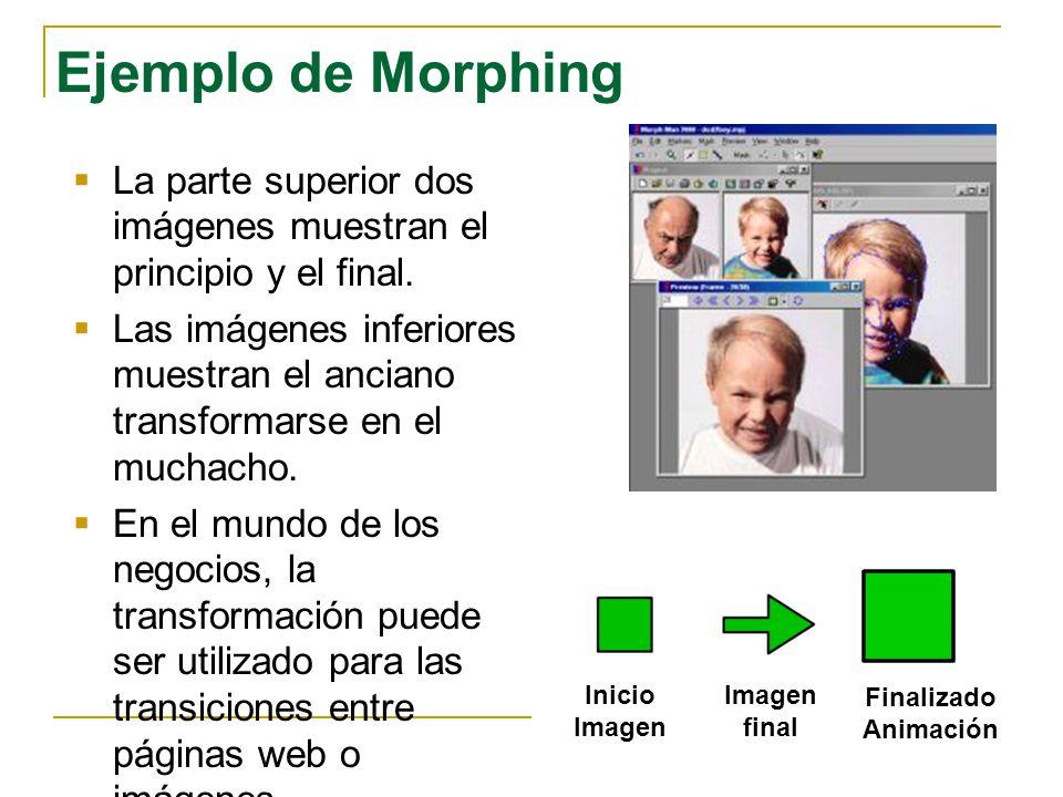 Ejemplo de Morphing La parte superior dos imágenes muestran el principio y el final. Las imágenes inferiores muestran el anciano transformarse en el m