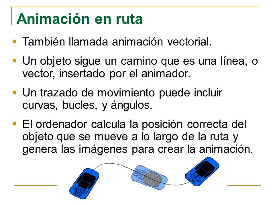 Animación en ruta También llamada animación vectorial. Un objeto sigue un camino que es una línea, o vector, insertado por el animador. Un trazado de