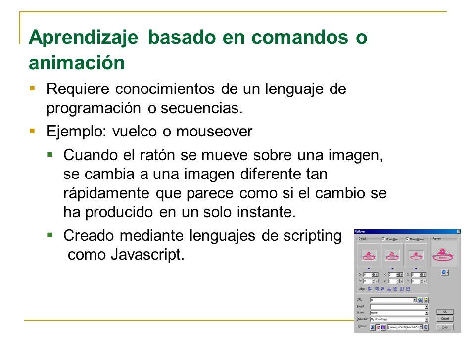 Aprendizaje basado en comandos o animación Requiere conocimientos de un lenguaje de programación o secuencias. Ejemplo: vuelco o mouseover Cuando el r