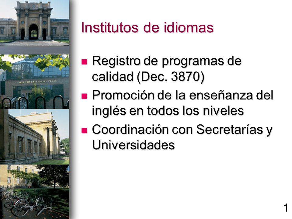 Institutos de idiomas Registro de programas de calidad (Dec.