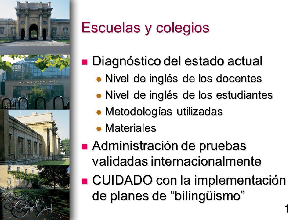 Escuelas y colegios Diagnóstico del estado actual Diagnóstico del estado actual Nivel de inglés de los docentes Nivel de inglés de los docentes Nivel