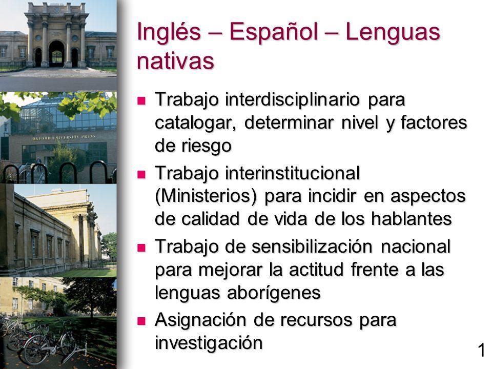 Inglés – Español – Lenguas nativas Trabajo interdisciplinario para catalogar, determinar nivel y factores de riesgo Trabajo interdisciplinario para ca
