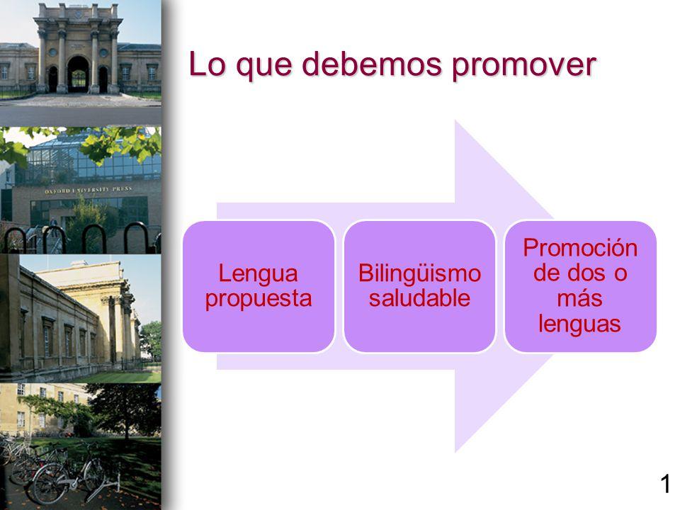 Lo que debemos promover Lengua propuesta Bilingüismo saludable Promoción de dos o más lenguas 1