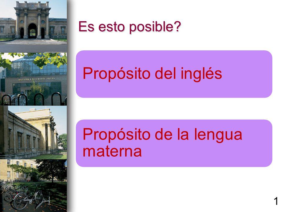 Es esto posible? Propósito del inglés Propósito de la lengua materna 1