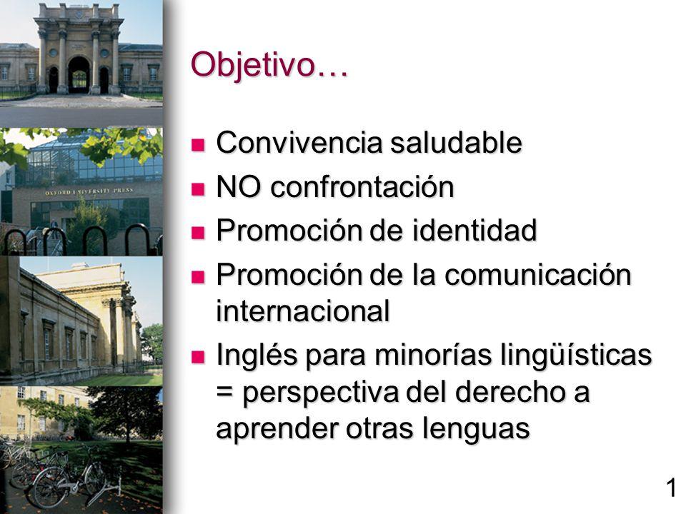 Objetivo… Convivencia saludable Convivencia saludable NO confrontación NO confrontación Promoción de identidad Promoción de identidad Promoción de la