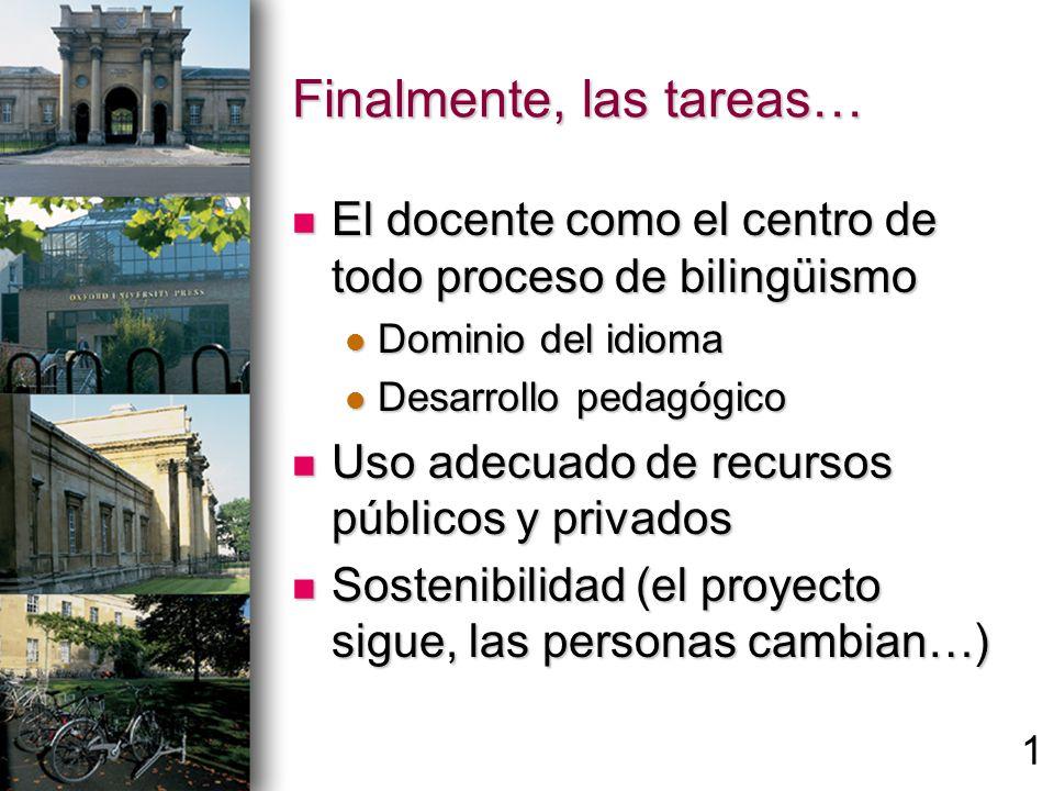 Finalmente, las tareas… El docente como el centro de todo proceso de bilingüismo El docente como el centro de todo proceso de bilingüismo Dominio del