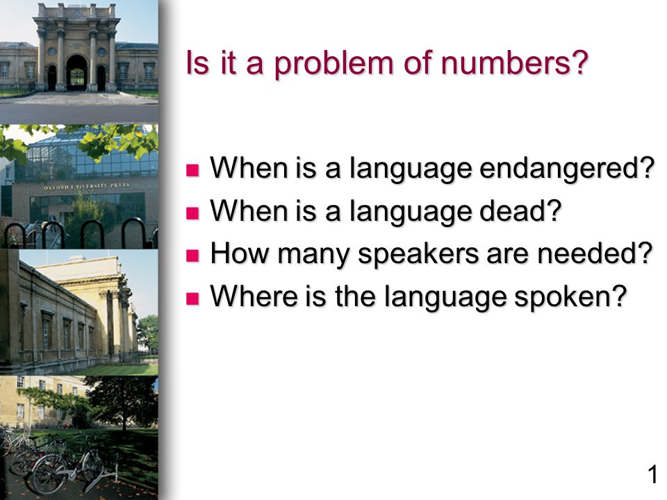 Is it a problem of numbers. When is a language endangered.