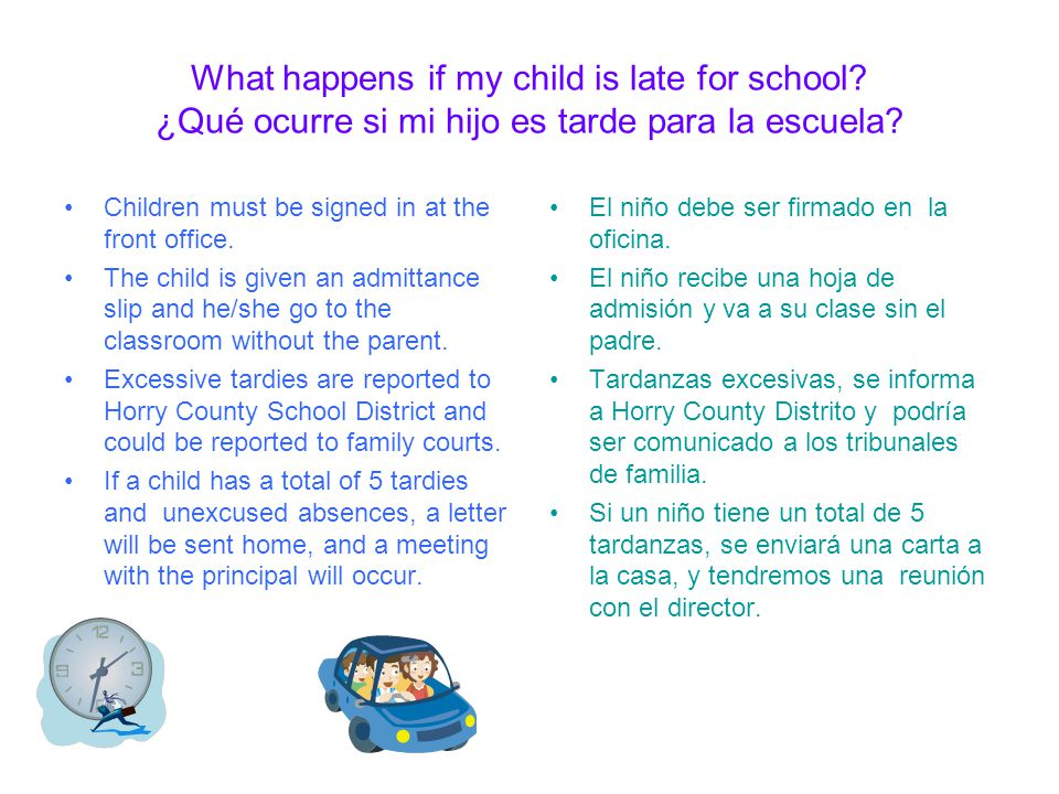 What do I do if I need to change my childs transportation? ¿Qué debo hacer si tengo que cambiar mi niño de transporte? The school policy states that a