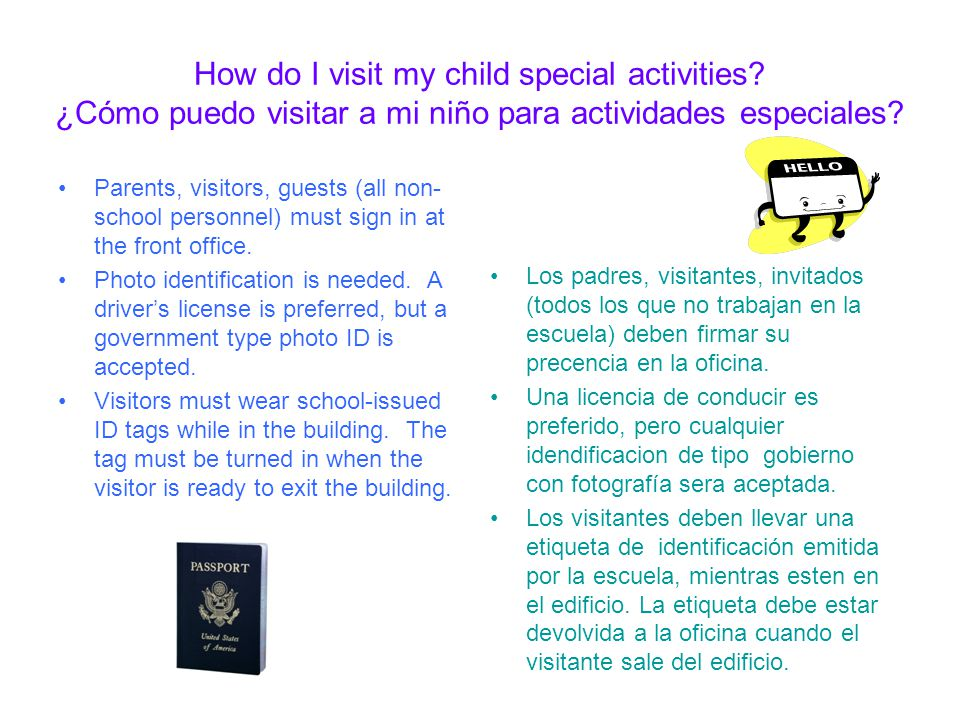 How do I visit my child special activities.