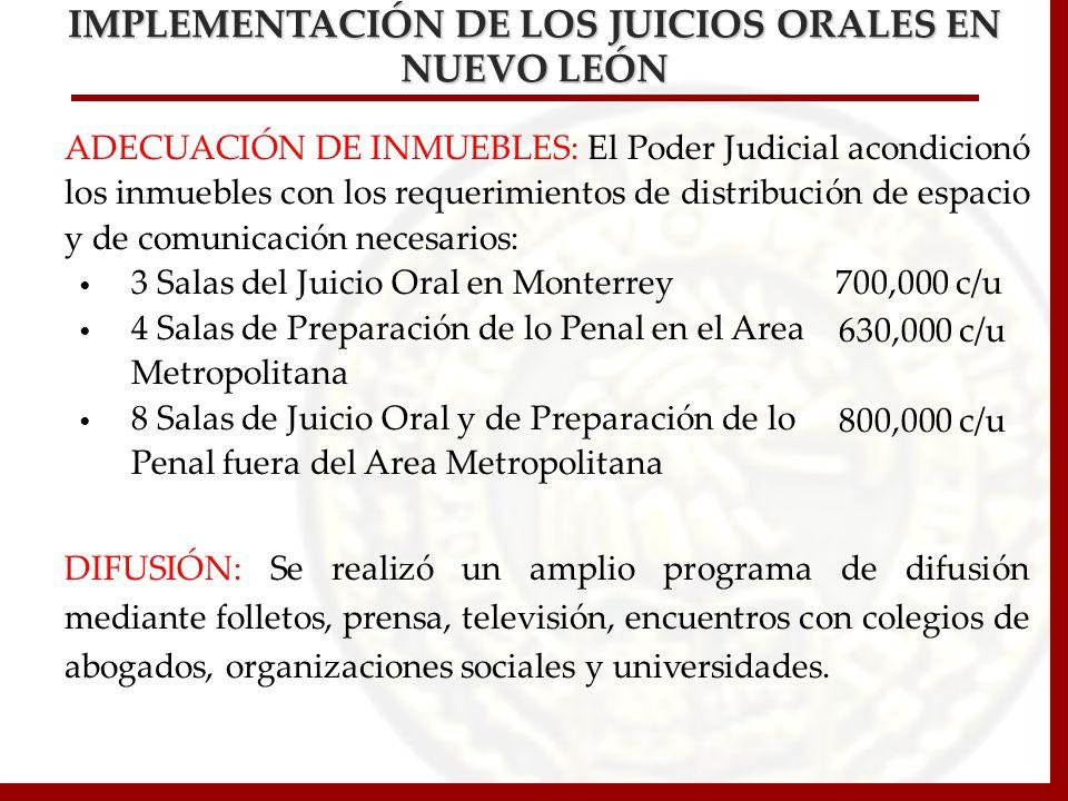 ADECUACIÓN DE INMUEBLES: El Poder Judicial acondicionó los inmuebles con los requerimientos de distribución de espacio y de comunicación necesarios: 3