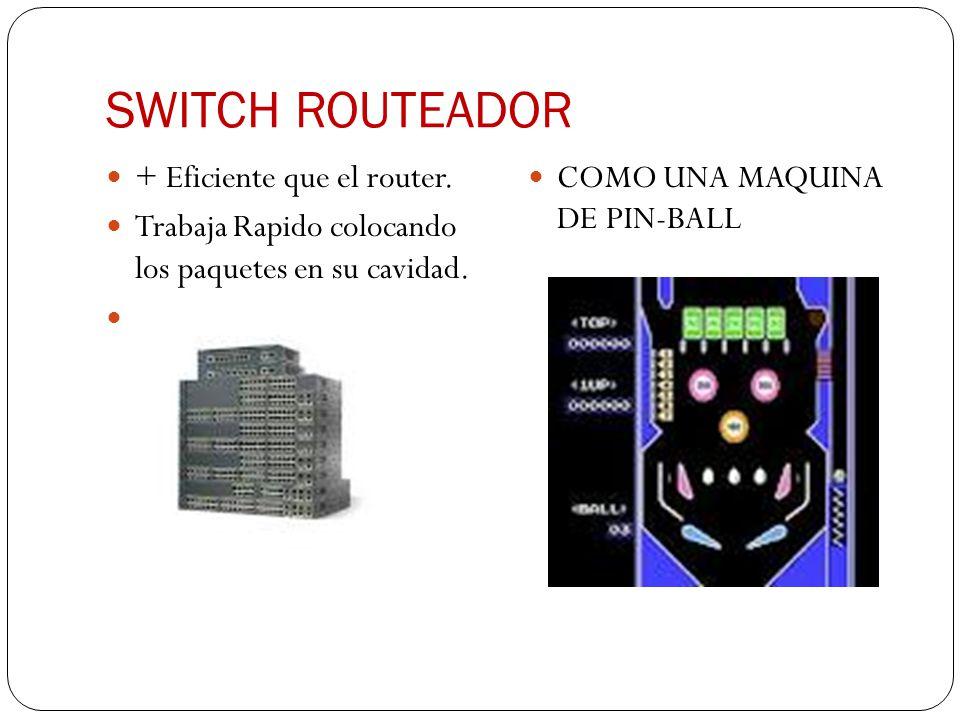 SWITCH ROUTEADOR + Eficiente que el router. Trabaja Rapido colocando los paquetes en su cavidad. COMO UNA MAQUINA DE PIN-BALL