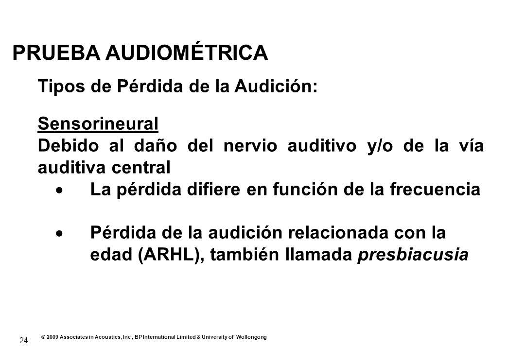 24. © 2009 Associates in Acoustics, Inc, BP International Limited & University of Wollongong PRUEBA AUDIOMÉTRICA Tipos de Pérdida de la Audición: Sens
