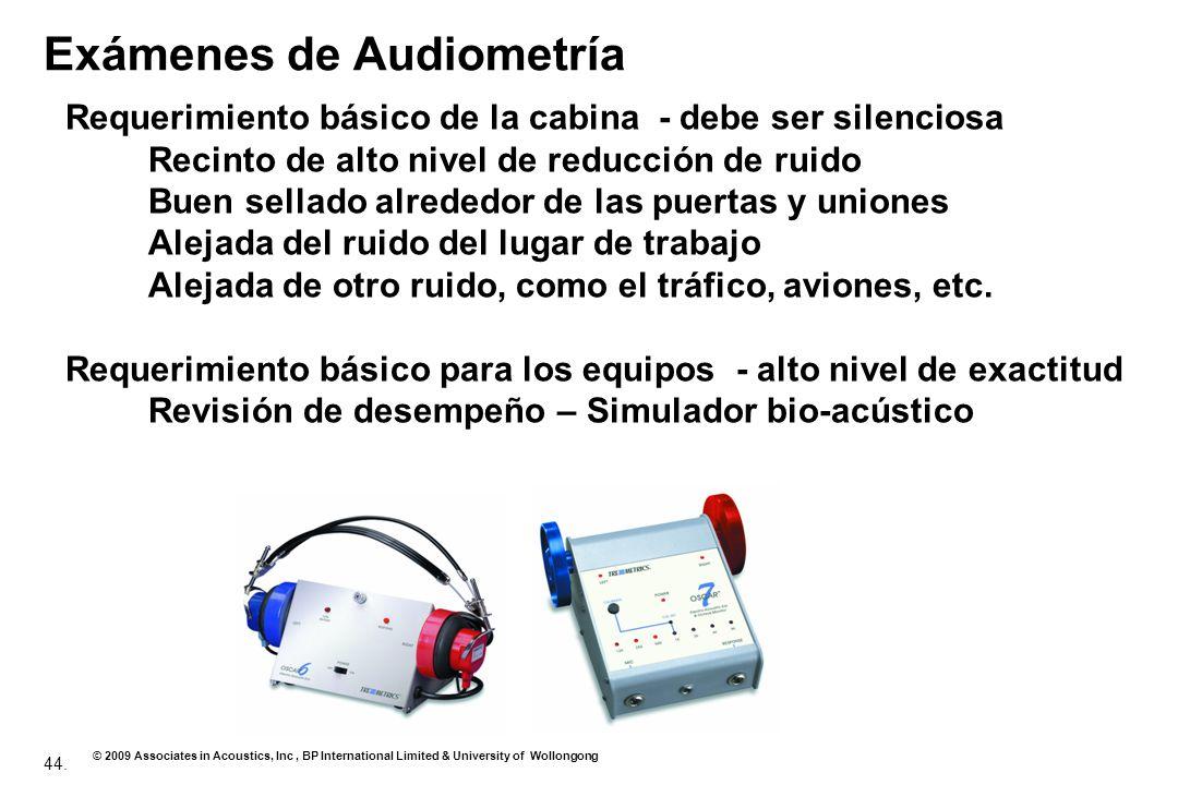 44. © 2009 Associates in Acoustics, Inc, BP International Limited & University of Wollongong Exámenes de Audiometría Requerimiento básico de la cabina
