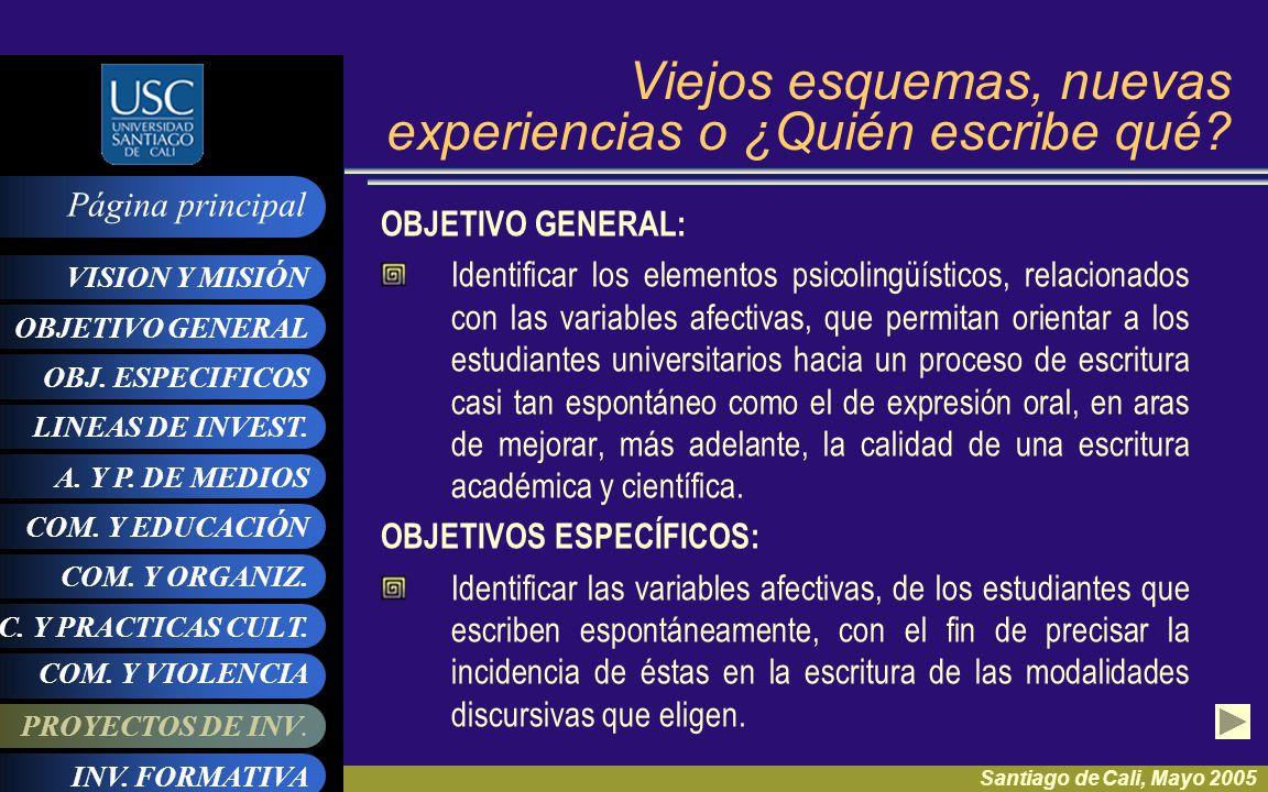 OBJ. ESPECIFICOS LINEAS DE INVEST. A. Y P. DE MEDIOS VISION Y MISIÓN Página principal COM. Y ORGANIZ. COM. Y EDUCACIÓN PROYECTOS DE INV. OBJETIVO GENE