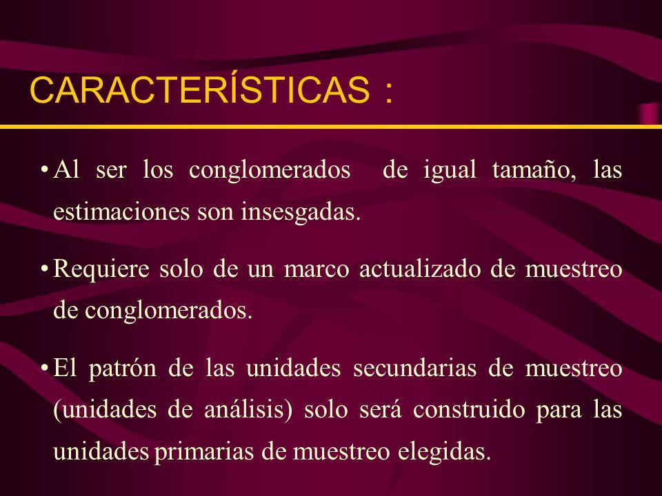 NCONGLOMERADOS N° 1 2 14 8 N° 2 30 4 61 N° 3 50 21 73 N°4 90 10 14 IGUAL TAMAÑO