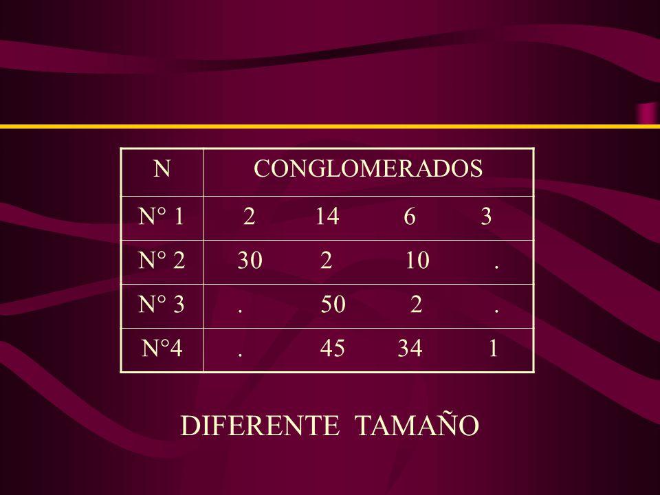 33 ALUMNOS C 1 = 33 33 ALUMNOS C 2 = 33 33 ALUMNOS C 3 = 33 33 ALUMNOS C 16 = 33 CONGLOMERADOS DE IGUAL TAMAÑO : :