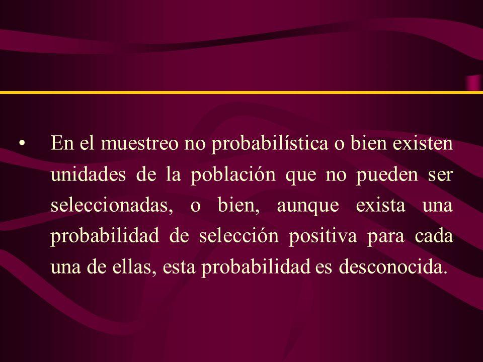 MUESTREO NO PROBABILISTICO Las muestras no probabilísticas llamadas también muestras dirigidas, suponen un procedimiento de selección informal y un tanto arbitrario.