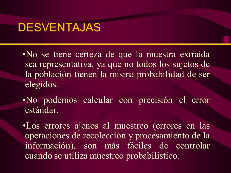 Con el muestreo no probabilístico las observaciones en una muestra se obtienen mas rápidamente y a menor costo que en el muestreo probabilístico.