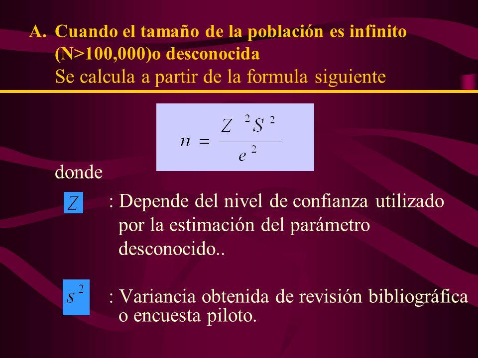 Cálculo del tamaño de la Muestra ejemplo: Suponiendo: Tamaño de la población 25354 personas (N = 25354) Máximo error permitido 5% (e = 0.05) Fiabilidad deseada 95% ( = 0.05; Z = 1.96) Desviación Típica Muestral = 3.56 0.0634 + 48.6869 25.3208 =11014.425.......