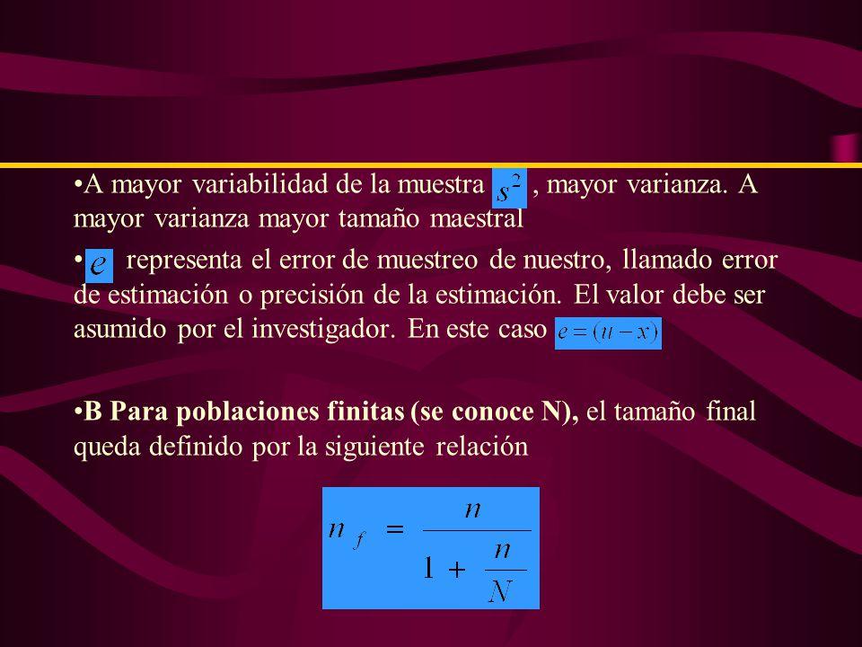 A.Cuando el tamaño de la población es infinito (N>100,000)o desconocida Se calcula a partir de la formula siguiente donde : Depende del nivel de confianza utilizado por la estimación del parámetro desconocido..